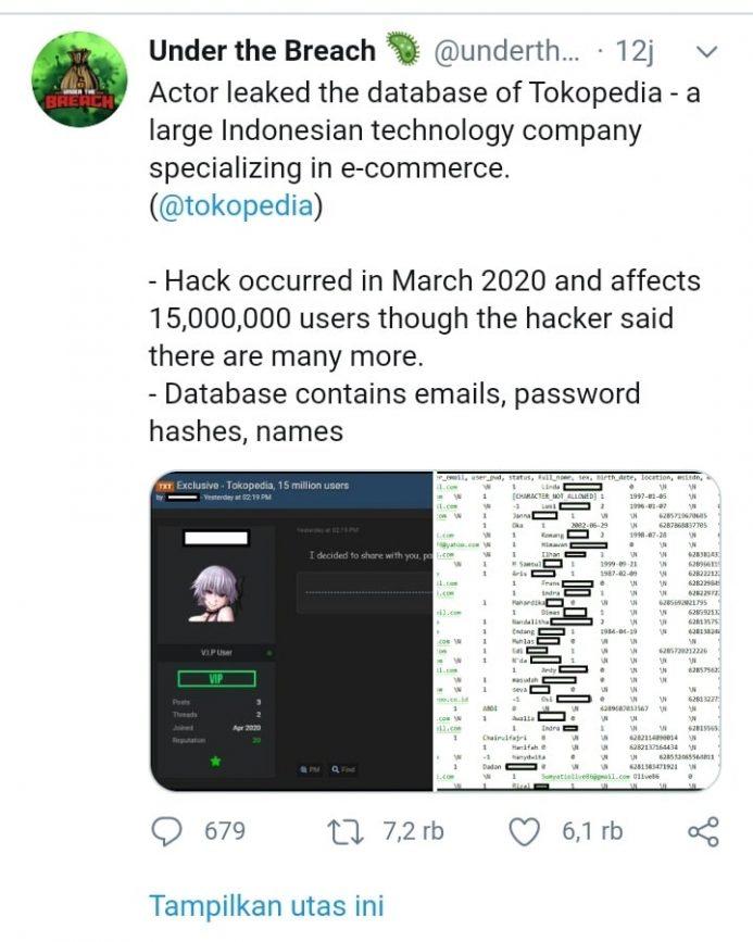 Seorang Hacker Berhasil Meretas Tokopedia, 15juta Data Pelanggan Bocor