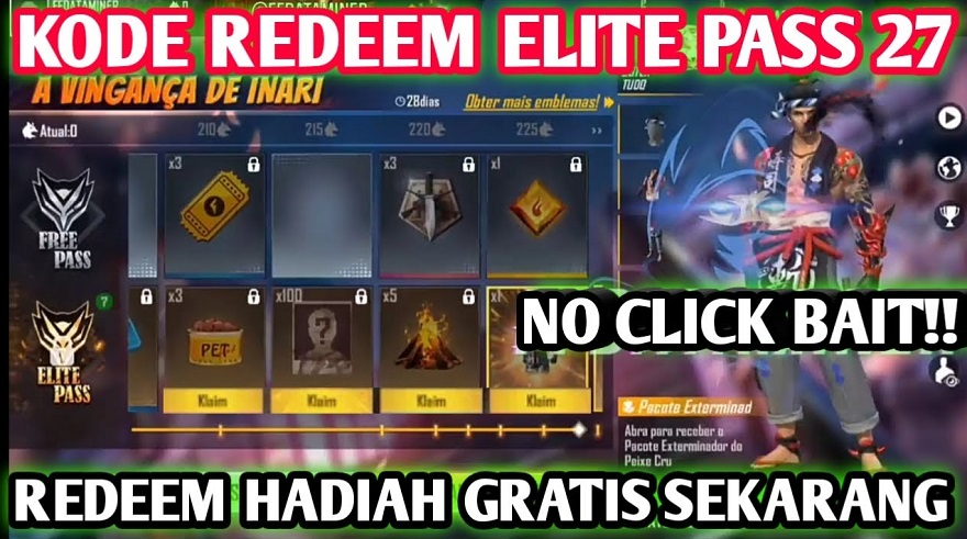 kode redeem elite pass season 27 dapat bundle sushi menace