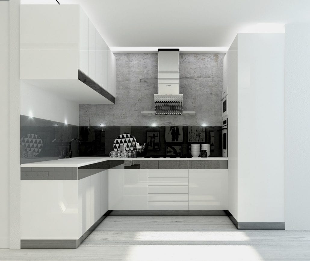 Nuansa Hitam Putih Pada Desain Dapur Minimalis